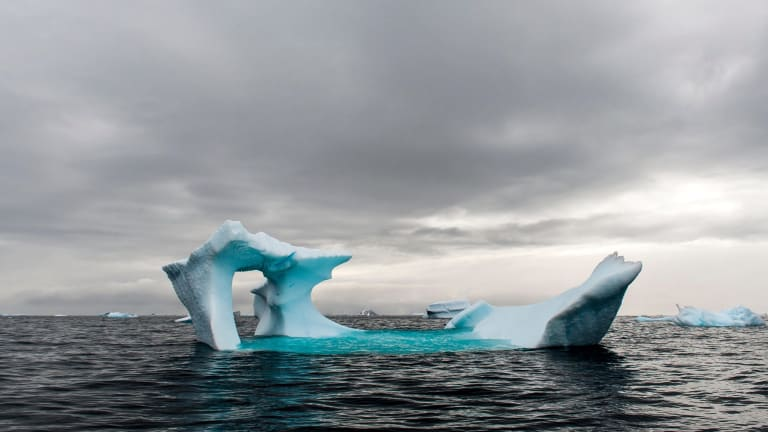 Blue iceberg floating in the sea near Cierva Cove on the  Antarctic Peninsula.