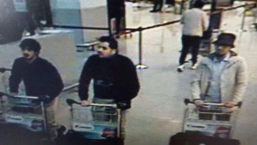 Brussels airport bombers caught on CCTV minutes before the explosion in March.