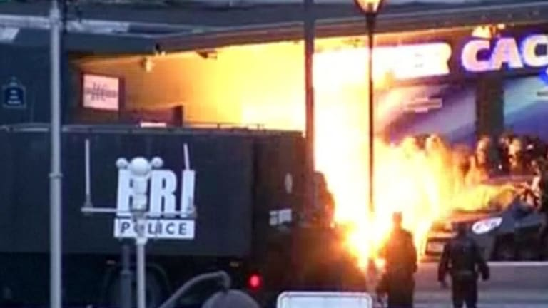 A blast at the supermarket where four hostages were shot dead.