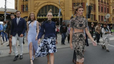 Montana Cox and her model squad stopped all fashion platforms in Flinders Street.