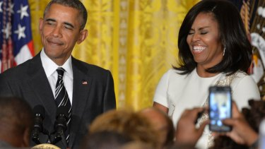 President Barack Obama and First Lady Michelle Obama at a reception for Black History Month in the US.