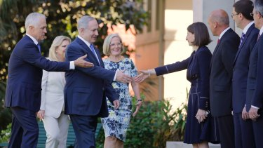 Israeli PM Benjamin Netanyahu and his wife Sara are introduced to NSW Premier Gladys Berejiklian by Malcolm Turnbull at Admiralty House.