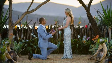 """Love rat: Blake Garvey proposes to Sam Frost on """"The Bachelor""""."""