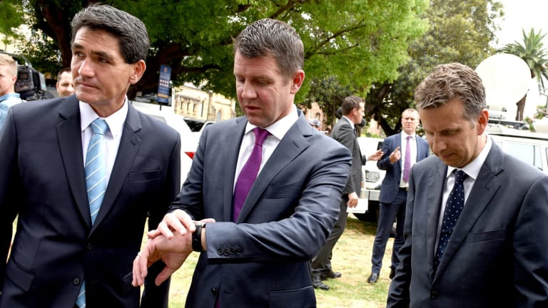NSW Member for Parramatta Geoff Lee, Minister for Transport Andrew Constance and NSW Premier Mike Baird during the announcement of the proposal for Parramatta's light rail in December.