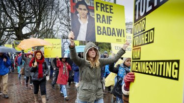 A protest held by Amnesty International in support of Raif Badawi.