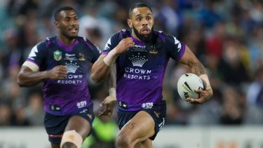 Breakneck speed: Joshua Addo-Carr sprints away to score for the Storm.