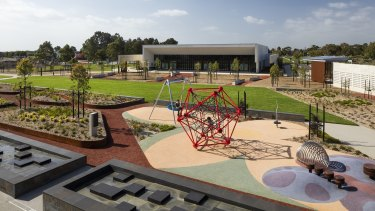 The gardens, playground and new buildings at Bunurong.