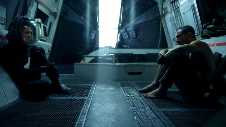 <i>Arrowhead</i> ... Kye (Dan Mor) and Tarren (Aleisha Rose) aboard the space ship.