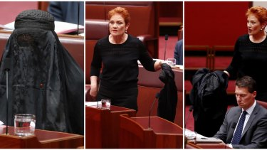 Senator Pauline Hanson wears a burqa to question time in the Senate at Parliament House on Thursday.