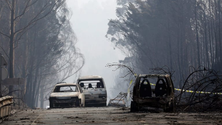 """Burnt cars block the road between Castanheira de Pera and Figueiro dos Vinhos. More than 50 people were killed in what the prime minister called """"the biggest tragedy of human life that we have known in years."""""""