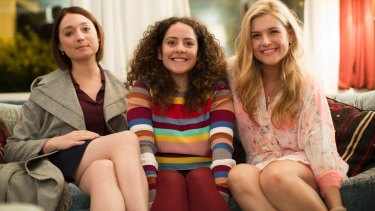 Instant family: Edie (Antonia Prebble), Julia (Maria Angelico) and Roxy (Lucy Durack) suddenly learn they're related.