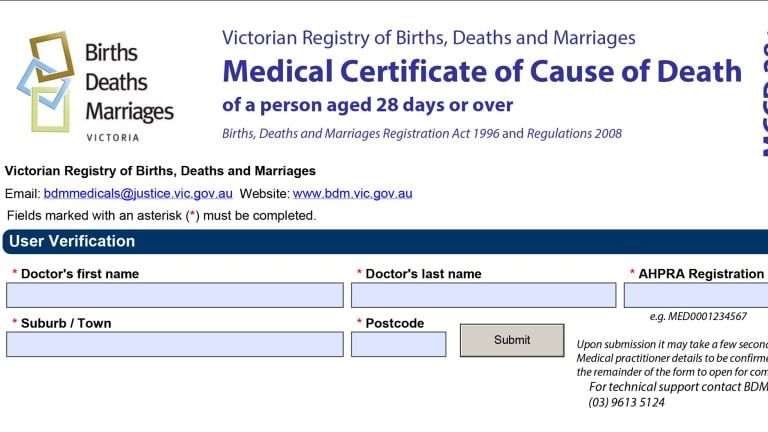 A form used to verify a doctor's identity in Victoria.
