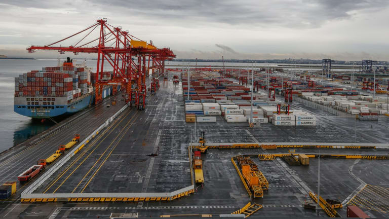 Patrick's new automated port terminal, at Port Botany is being automated, workers are being replaced by machines.