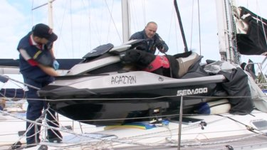 Drug bust: Police searching Simon Golding's yacht.