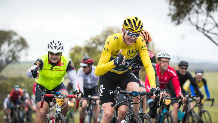 Chris Froome riding in L'Etape Australia at Jindabyne and the Snowy Mountains earlier in December.
