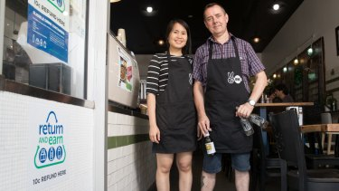Bee Seesong and Martin McCleave from Two Ones Cafe in Randwick, which will be a local bottle collection point for the new refund scheme in NSW.