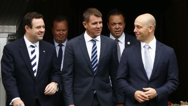Sports Minister Stuart Ayres, former premier Mike Baird and the NRL's Todd Greenberg at the 2016 announcement of the redevelopment of ANZ Stadium.