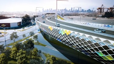 An artist's impression of an elevated freeway at Footscray Road, part of the West Gate Tunnel project.