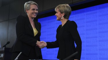 Australians would happily elect Julie Bishop (right) or Tanya Plibersek if given the chance.