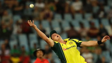 Dan Worrall attempts a catch in the first ODI.