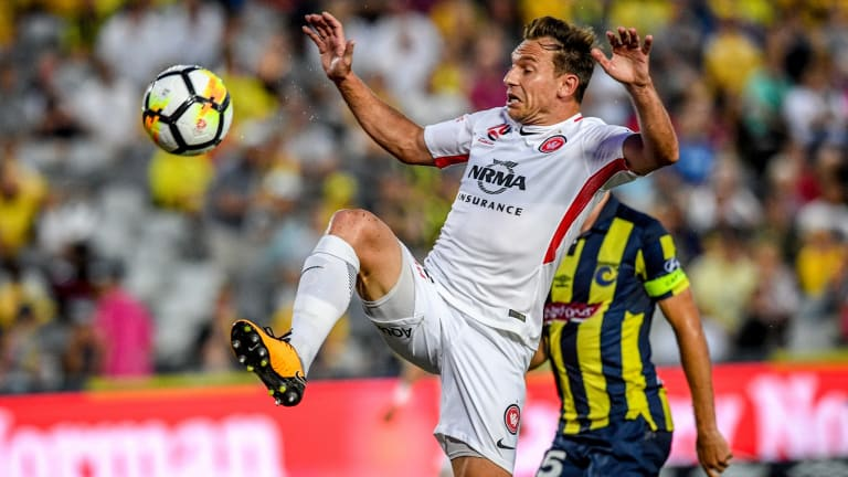 Veteran: Brendon Santalab scored one goal and created another as the Wanderers ended their losing streak.