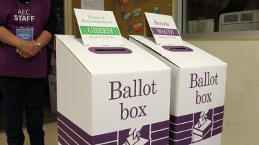 Ballot boxes at the 2016 federal election.