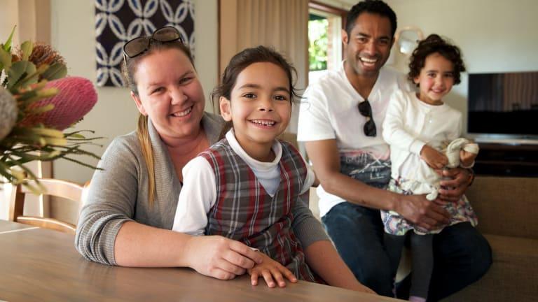Kim and Eliki Sagoa with their two daughters Leila, 6, and Alani, 3.