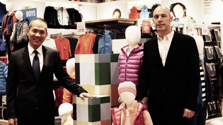 UNIQLO Australia managing director Shoichi Miyasaka and chief development officer Matt Parker at their newest store in Westfield Chatswood.