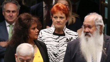 Pauline Hanson enters the House of Representatives with fellow senators last month.