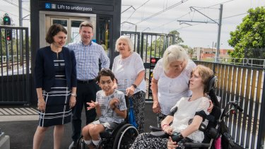 Premier Gladys Berejiklian and Member for Oatley Mark Coure with Ivy and Margaret Sutton and their adopted children Robert and Rachel.