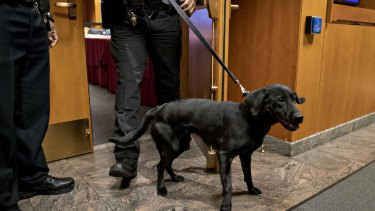 A police officer walks a bomb detection dog out of the Federal Communications Commission (FCC) meeting room during an evacuation at an open commission meeting in Washington, DC.