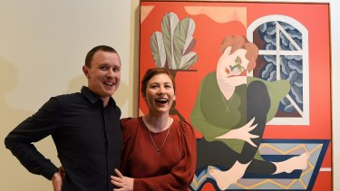 Mitch Cairns, the winner of the 2017 Archibald Prize, his winning painting and its subject, his partner Agatha Gothe-Snape.