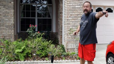 Eric Paddock, brother of Las Vegas gunman Stephen Paddock, orders a television reporter off his property at his home, in Orlando, Florida.