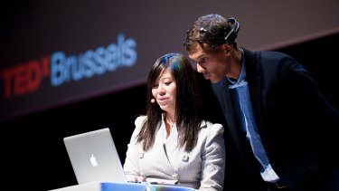 Le at TEDx Brussels, talking about her company's wearable headset.