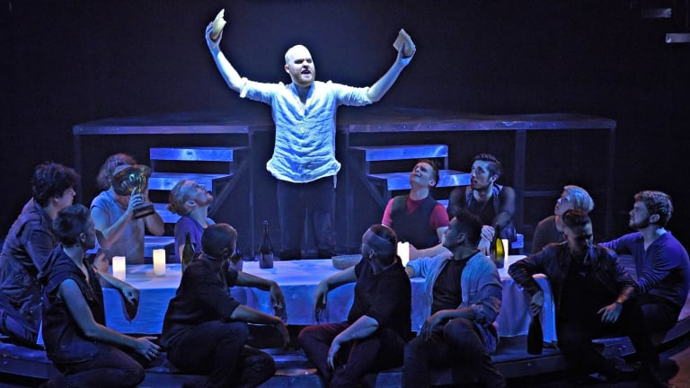 Jesus (Grant Pegg, centre) and the apostles at the Last Supper in Jesus Christ Superstar.
