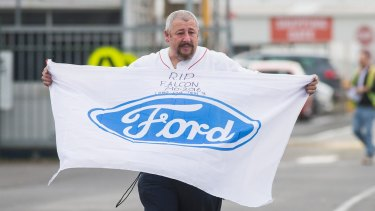 Former Ford employee Nick Doria leaves the Broadmeadows plant after his final shift.