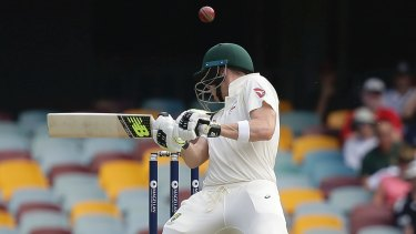 Trials and tribulations: Steve Smith is hit on the head during his long innings.
