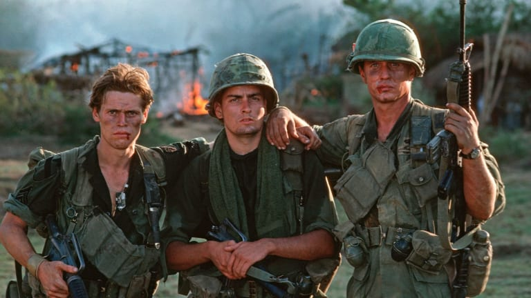 Oliver Stone's <i>Platoon</i>, starring Willem Dafoe (left), Charlie Sheen and Tom Berenger, won best picture and director at the Oscars in 1987.