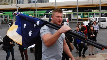 United Patriots Front leader Blair Cottrell took part in the march.