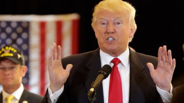 Donald Trump answers questions during a news conference in New York, where he laid into the media.