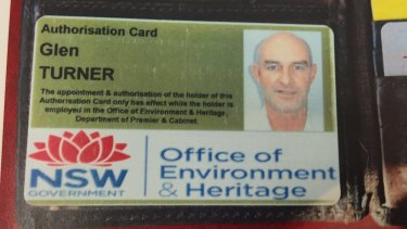 Crime scene exhibit: Glen Turner's NSW office of Environment and Heritage authorisation card.