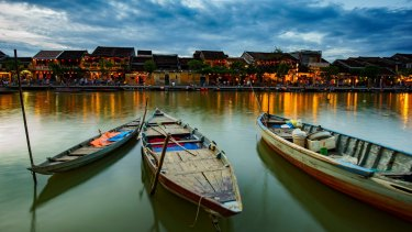 Thu Bon River in Hoi An, Vietnam.