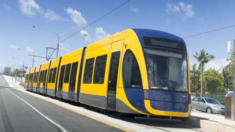 A Bombardier Flexity 2 tram operating on the Gold Coast light rail line.
