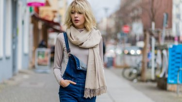 Overalls but nicely underdone ... German fashion blogger Ebba Zingmark on the streets of Berlin.