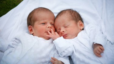 The twin babies of Nick Martin (not his real name), who are unable to leave Nepal.
