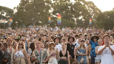 Crowds at the 2017/18 Byron Bay Falls Festival held at the North Byron Parklands.