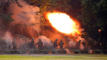 Army troops fire Howitzer to welcome President Rodrigo Duterte at a ceremony in Fort Bonifacio in suburban Taguig city east of Manila, Philippines earlier this month.