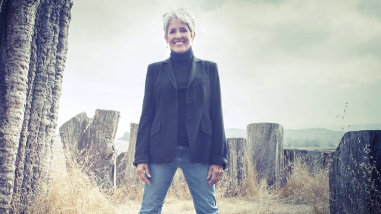 Her unearthly upper register may have faded, but '60s singer Joan Baez's conviction still reverberates through every syllable.