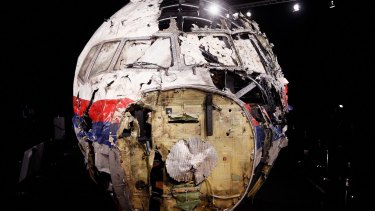 The cockpit wreckage of MH17.