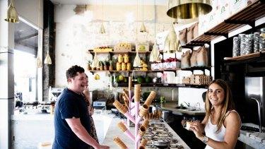 Inside Pidapipo's gelato store in Carlton.